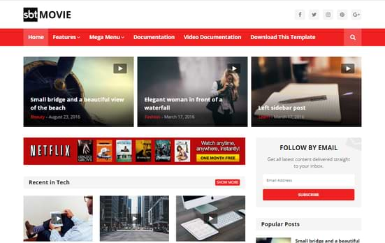 SBT Movie Blogger Template free download seo optimized